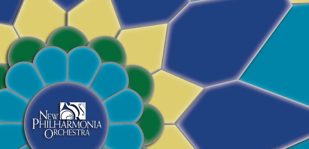An image of a mosaic in shades of blue, green, and yellow, radiating from a blue circle with the New Philharmonia Orchestra logo inside it.